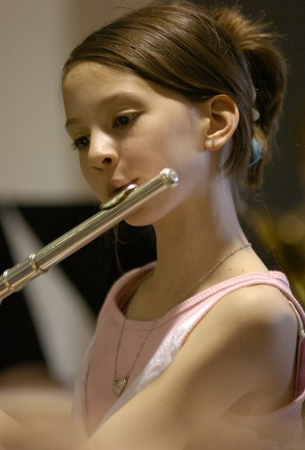 Jessica Addington shows her flute skills during a performance in Edmonds, Wa., June 11, 2009.