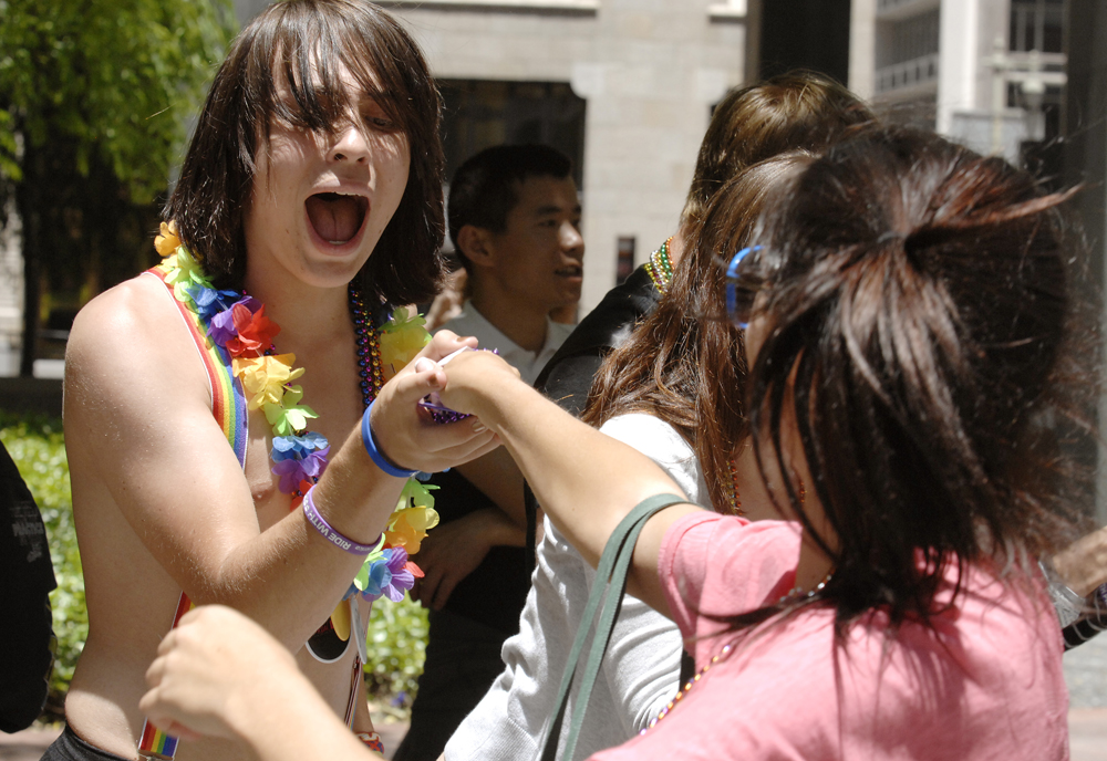 Enjoyment, rainbows and beads flow freely at the annual Pride Parade in San Francisco, June 26, 2011.