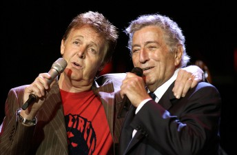 Paul McCartney and Tony Bennett perform during the Bridge School Benefit at Shoreline Amphitheater in Mountain View, Calif., October 24, 2004.