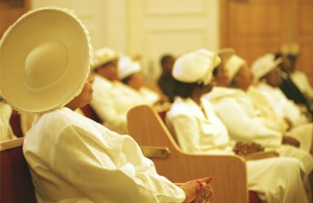 Decorative hats are often the norm at the Ebenezer Baptist Church in San Francisco.