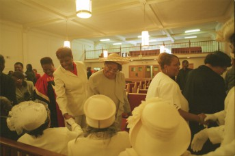 Members share their parting regards at the Ebenezer Baptist Church in San Francisco, May, 2002.