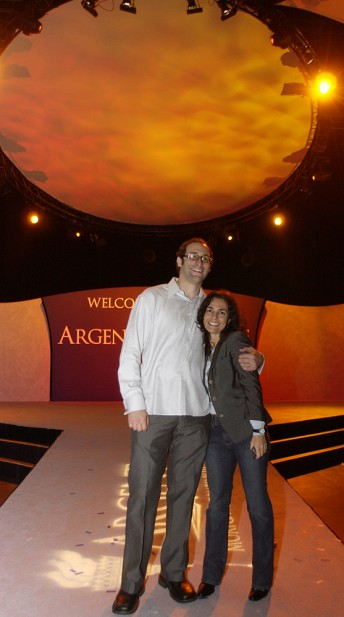 Argent Mortgage employees take a moment before the company's quarterly sales meeting at the Bill Graham Civic Auditorium in San Francisco December 6, 2003.
