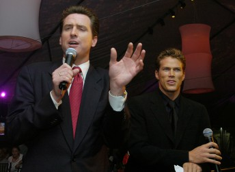 Mayor Gavin Newsom emcees an auction during a an after party following a benefit screening of the final Star Wars film in San Francisco, May 12, 2005.