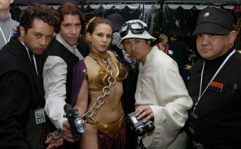 Costumed attendees during an aftershow party following a benefit screening of the final Star Wars film in San Francisco May 12, 2005.