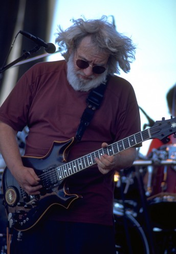Jerry Garcia performs with the Grateful Dead at the Portland Meadows, May 29, 1995.