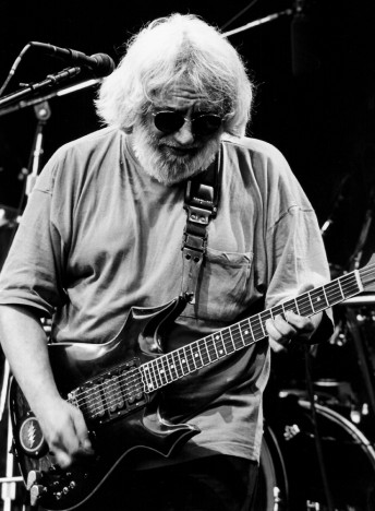 Jerry Garcia performs with the Grateful Dead at the Seattle Memorial Coliseum, May 25, 1995.