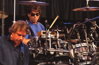 Grateful Dead drummer Mickey Hart, (right) performs with Bob Wier of the Grateful Dead at the Shoreline Amphitheater, Mountain View, Calif., May 23, 1992.