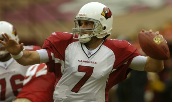 Arizona Cardinals rookie quarterback Matt Leinart looks for an open receiver during the first quarter against the 49ers at Monster Park in San Francisco  December 24, 2006.