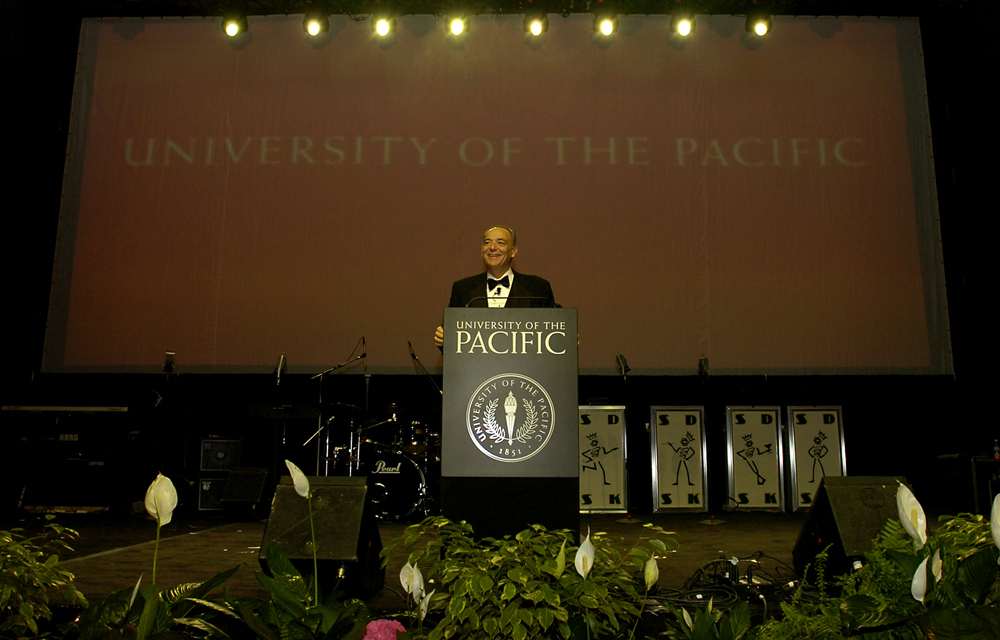 President Donald DeRosa speakis during a benefit event at the University of the Pacific in Stockton, Calif., April 30, 2005.