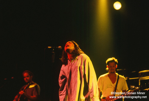 Rob Hotsckiss, Pat Monahan and Charlie Colin (left to right) of Train perform - opening for Cracker - at the FIllmore Auditorium in San Francisco, May 11, 1996.