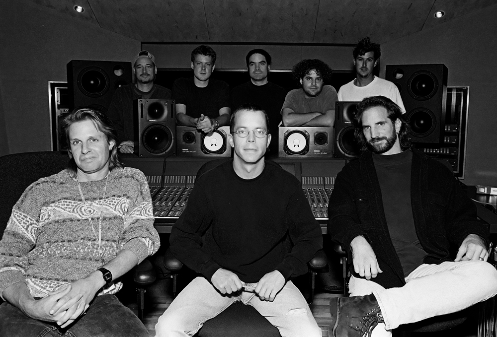 Train and the production team take a break from re-mixing their self-titled CD at Sega Music Studios in San Francisco, October 23, 1996.