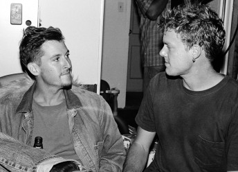 Train bassist Charlie Colin (left) with drumer Scott Underwood at a party in San Francisco, August, 1997.