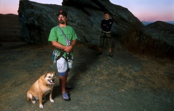 Tad (left) and Tim take a moment in Marin County, Calif., October 19, 2002.  Rosebud, the dog pictured, felt the need to be in front of the lens for what was a class assignment while at San Francisco State.