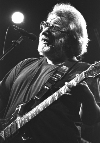 Jerry Garcia performs with the Grateful Dead at the Oakland Coliseum, December 13, 1992.