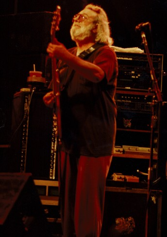 Jerry Garcia peforms with the Grateful Dead at the Shoreline Amphitheater in Mountain View, Calif., August 16, 1991.