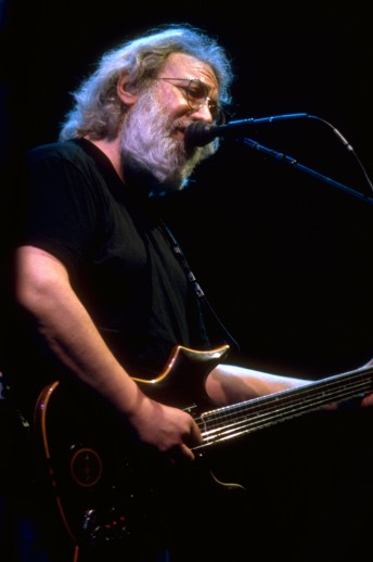 Jerry Garcia performs with the Grateful Dead at the Oakland Coliseum, December 11, 1994.