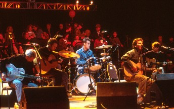 Pearl Jam perform during the Bridge School Benefit at the Shoreline Amphitheater in Mountain View, Calif., October 21, 2001