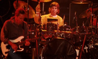 Bob Weir (left) and Mickey Hart perform with the Grateful Dead at the Oakland Coliseum, December 28, 1988. Photo by Stephen Dorian Miner