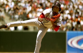 Red Sox pitcher Pedro Martinez pitches during a game against the San Francisco Giants at Pacific Bell Park, June 19, 2004. Photo by Stephen Dorian Miner