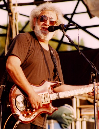 Jerry Garcia performs with the Grateful Dead at Cal Expo Amphitheater, May 27, 1993. Photo by Stephen Dorian Miner