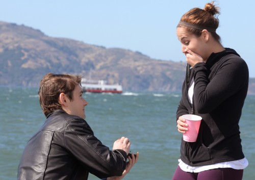 Mike proposes to Kendra at San Franciscos's Marina Green, July 7, 2016.