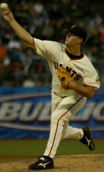 Giants pitcher Matt Cain makes his first major league start against the Colorado Rockies at the then named SBC Park in San Francisco, August 29, 2005.