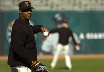 Slugger Barry Bonds returns to the field after spending the entire 2005 season on the disabled list, at then named SBC Park in San Francisco, September 12, 2005.