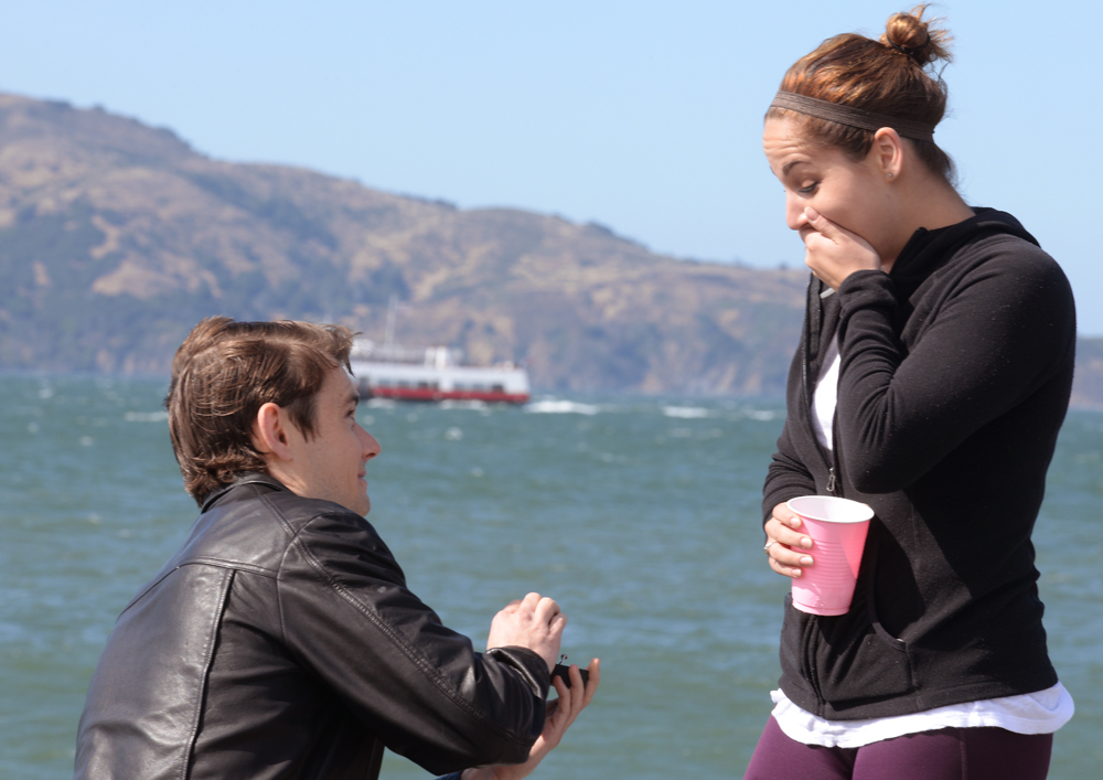 Mike proposes to Kendra at San Francisco's Marina Green, July 7, 2016.