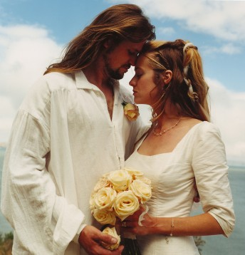 Michael Hart and new bride Christina after their ceremony on Angel Island, circa 1999  Photo by Stephen Dorian Miner
