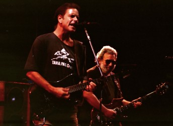 Bob Weir (left) and Jerry Garcia perform with the Grateful Dead at the then named Deer Creek Music Center in Noblesville,  July 19, 1990