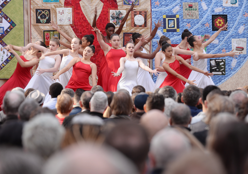 Students from the Oakland School for the Arts of Dance perform during the annual World AIDS Day event at the AIDS Memorial Grove in San Francisco's Golden Gate Park, December 1, 2017.
