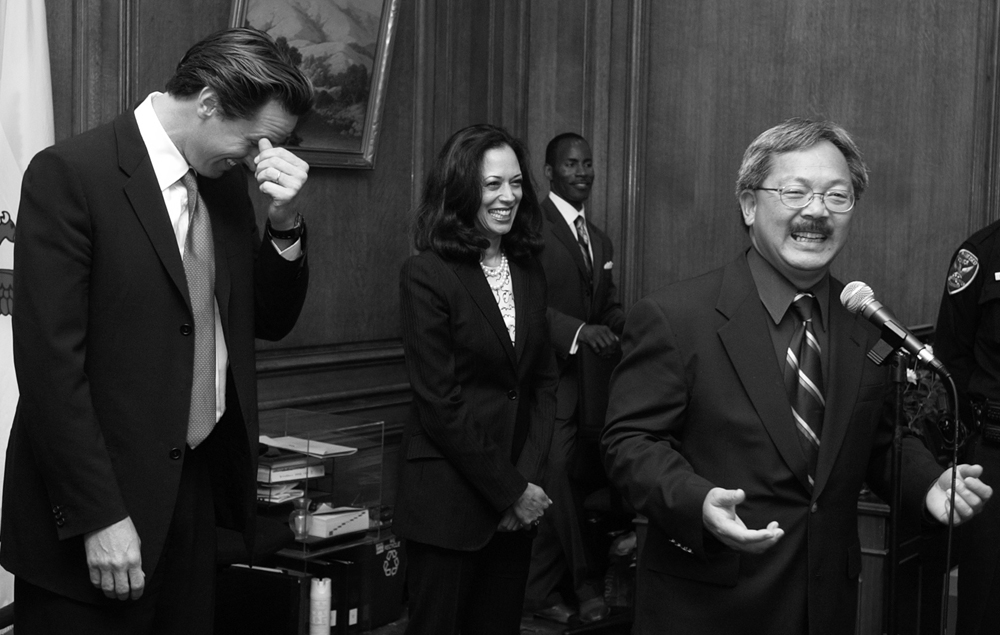 Then San Francisco DA Kamala Harris (center) with then Mayor Gavin Newsom (left) and then City Administrator Ed Lee, at City Hall in this September 3, 2004 file photo. Harris will be the first woman of color to appear on a presidential ticket as former Vice President Joe Biden chose her as his running mate earlier today. Photo by Stephen Dorian Miner
